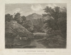'View in the Tinnevele District, East India'. Engraving by Letitia Byrne after the painting by Thomas Daniell. Published 1809